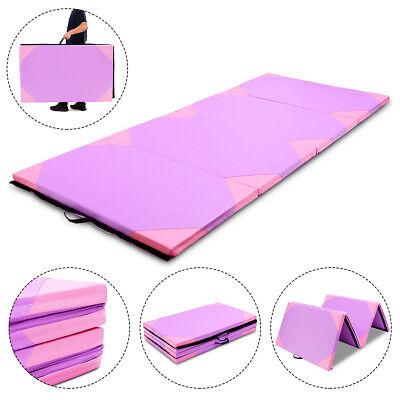"4'x10'x2"" Gymnastics Mat Thick Folding Panel Gym Fitness Exercise Purple & Pink"