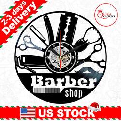 Salon Clock Barbershop Vinyl Record Wall Art Decor Barber Shop Christmas Gift