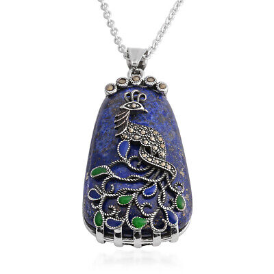 """Lapis Lazuli Marcasite Peacock Chain Pendant Necklace for Women Gift 20"""" Ct 10.4"""