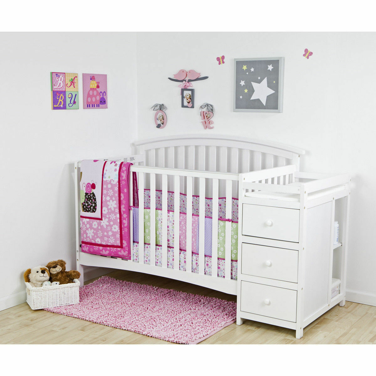 5 in 1 Side Convertible Crib Changer Baby Toddler Bed White