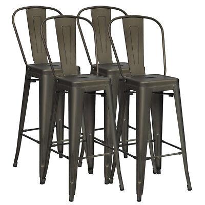 Set of 4 High Back Metal Stool 30