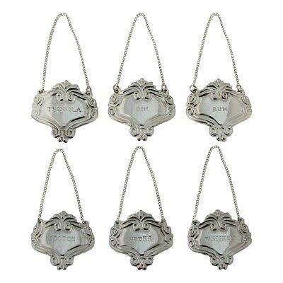 Silver Engraved Fancy Floral Decanter Labels Liquor Bottle Label Tag Set 6 Tags](Bottle Tags)