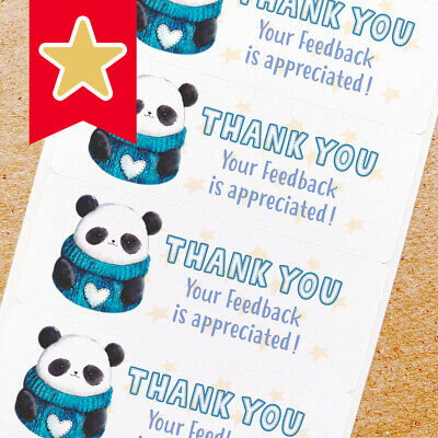 Thank You Labels Stickers For Online Shop Sellers 100ct - Panda