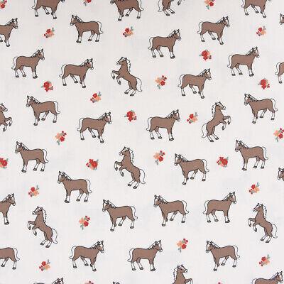 Baumwolljersey Jersey Stoff Bauernhof Pferd Blumen weiß braun rot (Braunes Pferd Kind Kostüm)