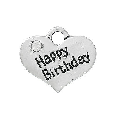 "4 x ""Happy Birthday"" Heart Charm Pendants - 16mm - L34734"