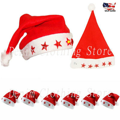 Flashing Santa Hats (6 pcs FLASHING LIGHT UP Red Holiday Christmas Santa Claus Cap Hats Velvet)