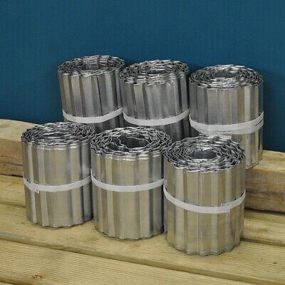 Set of 6 x Garden Lawn Edging Galvanised Metal Steel Roll (16.5cm x 5m)