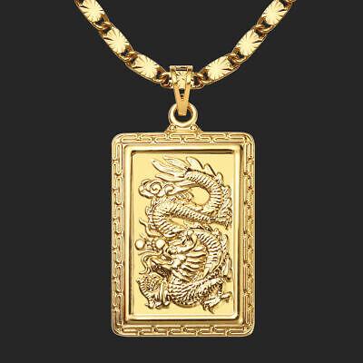 Drache Anhänger Halskette 24K 999er Gold Vergoldet 60cm (Herren Gold Kette Halskette)