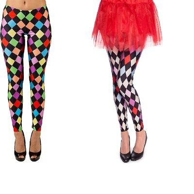 Strümpfe Leggings (Leggings Pierrot Clown Harlekin Strümpfe Raute weiß schwarz)