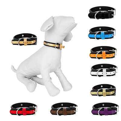 ( Adjustable Cute Pet Dog Cat Puppy Collar Toned Design with Bone Charms Size M)
