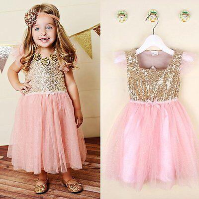 Flower Girls Kids Toddler Baby Princess Party Sequins Wedding Tulle Tutu Dresses