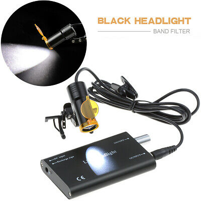 Dental Surgical 5w Led Headlight With Filter Metal Clip Type For Dentist Black