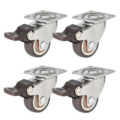 4 Pack 1.25 Low Profile Swivel Plate With Brake Brown Rubber Caster Wheels