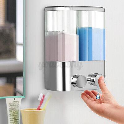 400ml Wall-Mount Shower Body Hand Lotion Shampoo Double Liquid Soap Dispenser US