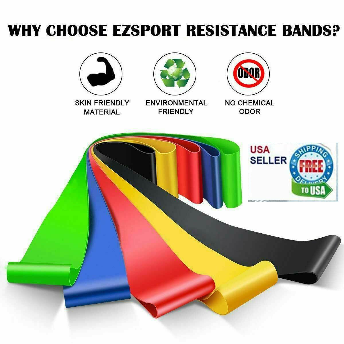 Resistance Bands Loop Set 5 Legs Exercise Workout CrossFit Fitness Yoga Booty Fitness Equipment & Gear