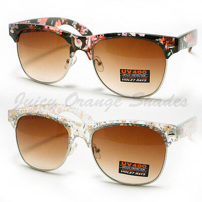 Flower Floral Print Sunglasses Womens Fashion Keyhole Square (Print Sunglasses)