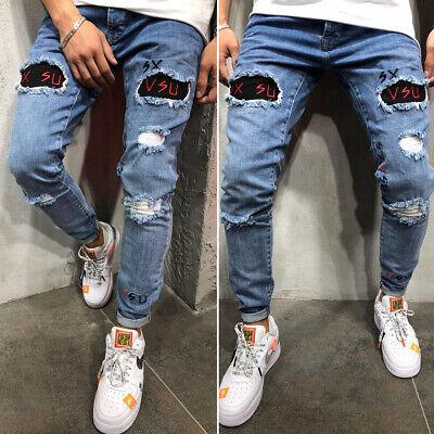 Fashion Skinny Jeans (Fashion Men Slim Fit Jeans Skinny Biker Pants Distressed Denim Trousers)