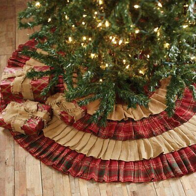 VHC Brands Whitton Ruffled Christmas Tree Skirt Natural Burlap / Red Green Plaid ()