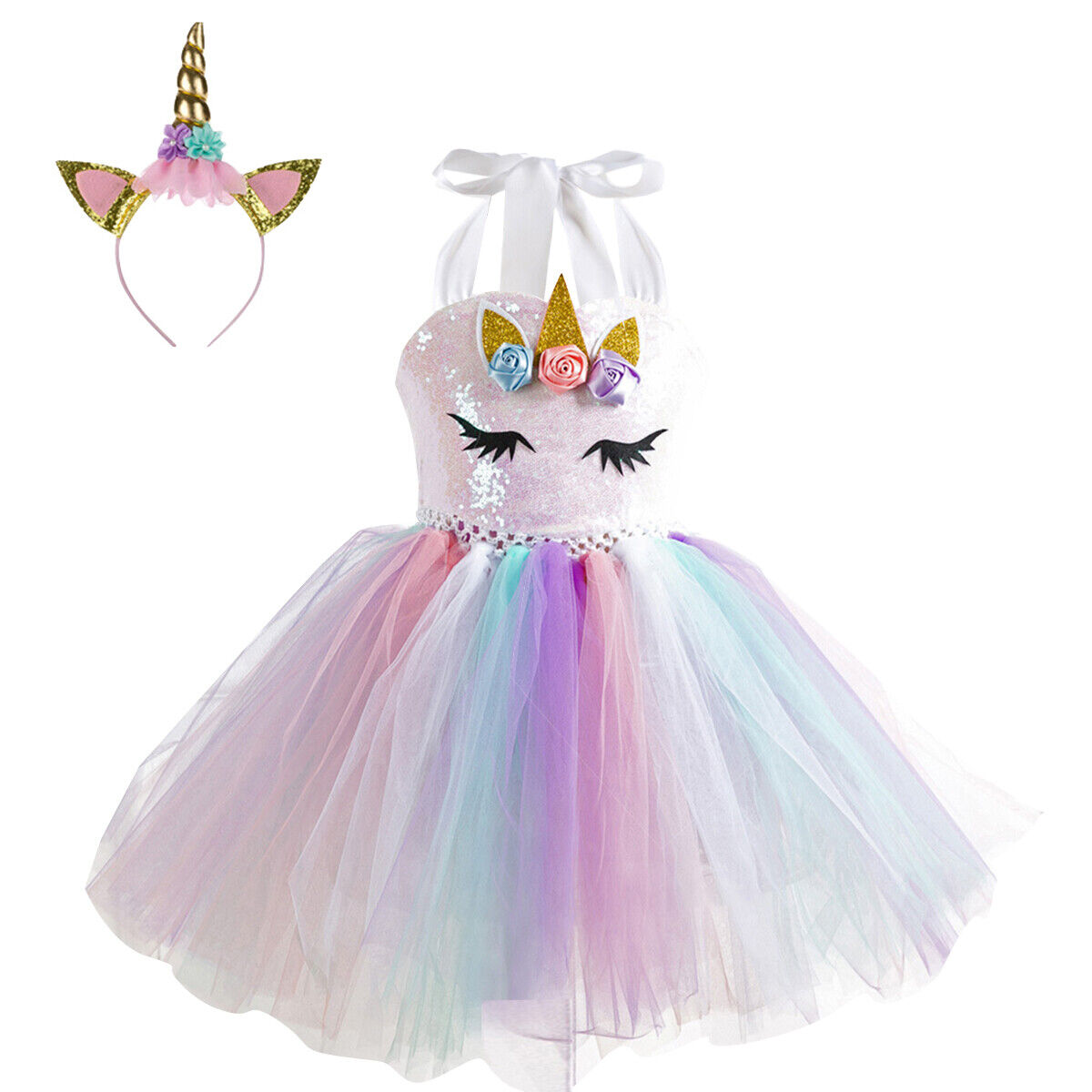 girls rainbow tutu unicorn dress headband kids princess