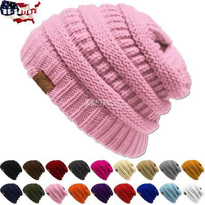 Clearance Sale  New Knit Slouchy Beanie Oversize Thick Cap Hat Unisex Womens
