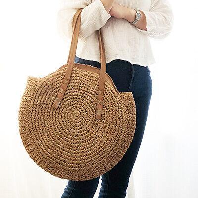 Hand Woven Rattan Straw For Women Bali Basket Round Retro Beach Shoulder Bag  ! Straw Basket Bag