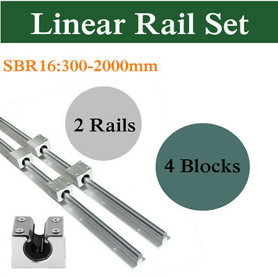 2pcs Sbr16 300-2000mm Linear Silde Rail Guide With 4pcs Sbr16uu Block Bearing