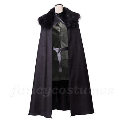 Deluxe Game of Thrones Dark Barbarian Jon Snow Fancy Dress Costume Medieval Cape