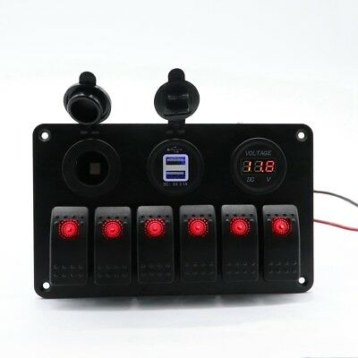 12-24v 6-gang Waterproof Circuit Blue Led Rocker Switch Panel Breaker Marine Car