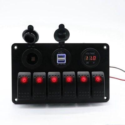 12-24v 6-gang Waterproof Circuit Blue Led Rocker Switch Panel Breaker Marine Car