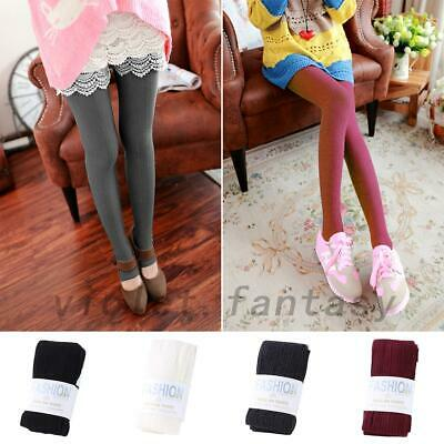 Hot Women Warm Knit Cable Sweater Footed Tights Stretch Stockings Pantyhose US Cable Knit Cotton Tights