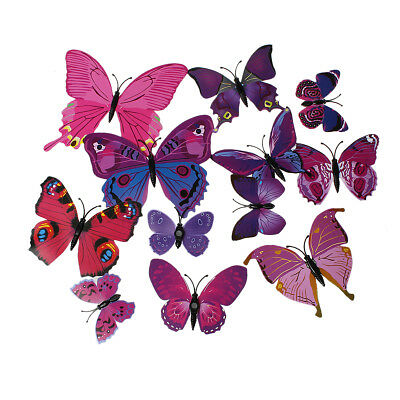 12 aimants papillon, magnet de frigo, 6 à 12cm, PVC couleur rose ()