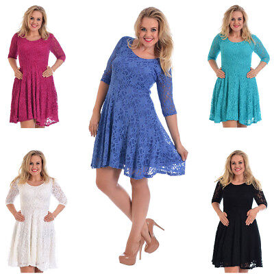 Womens Dress Ladies Plus Size Floral Lace Lined Mid Skater Summer Party Nouvelle