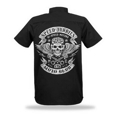 Worker Shirt Biker Vintage Racer Motorrad Chopper bobber Skull Rocker Old School Vintage Chopper
