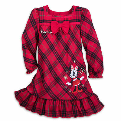 Disney Store Minnie Mouse Plaid Nightgown Pjs Christmas Holiday Girl No Name NEW
