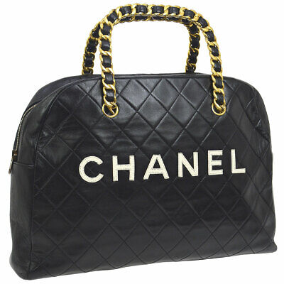 CHANEL Quilted CC Chain Handle Hand Bag Black Leather Vintage Authentic A46529d