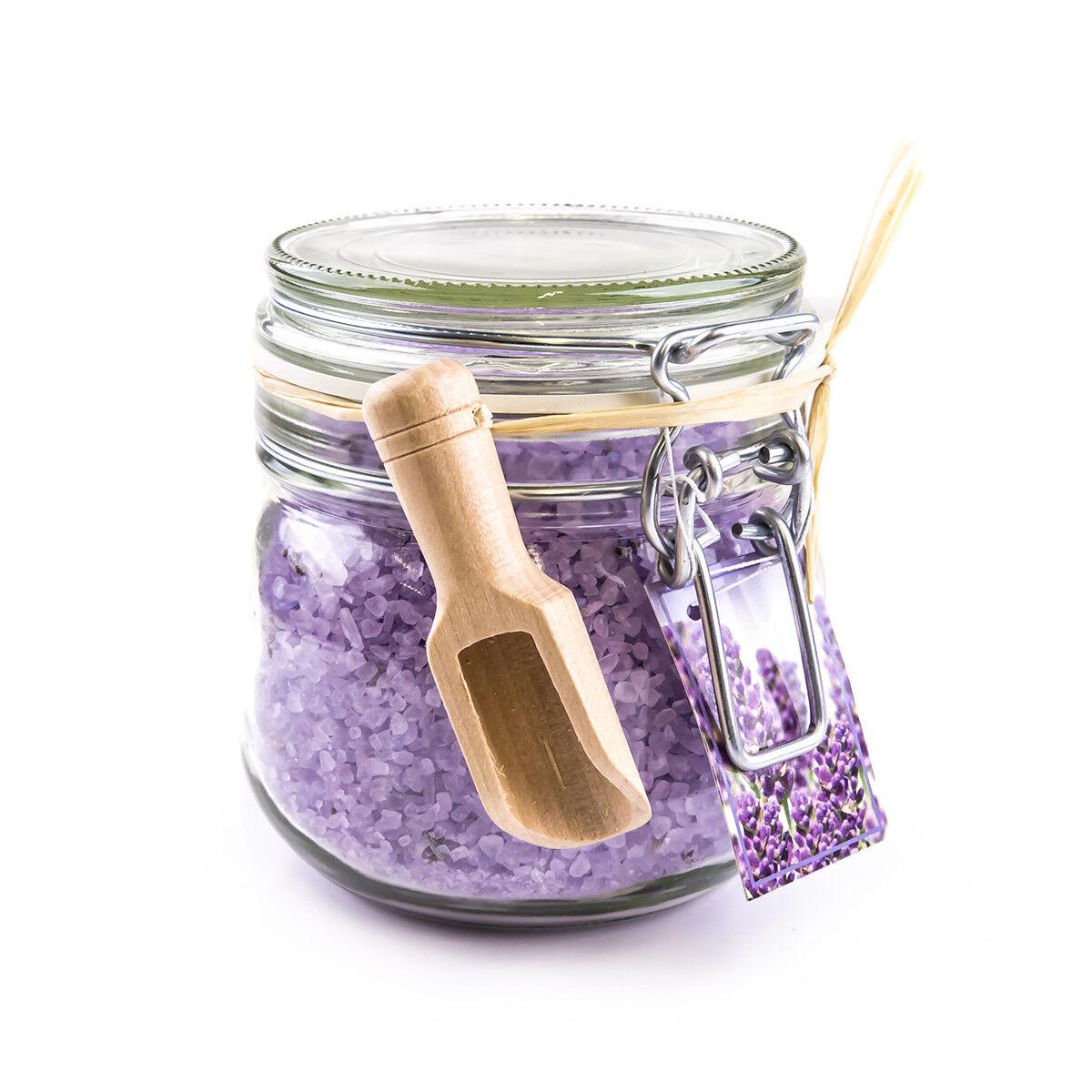Wellness Badesalz im Glas Lavendelblüten & Lavendelduft 700g Badezusatz Geschenk