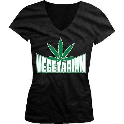 Vegetarian Marijuana Leaf - Pot Smoke Green Funny Sayings Juniors V-neck T-shirt - Green Sayings