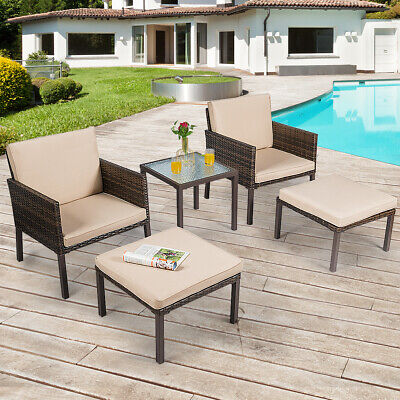 Garden Furniture - 5 PCS Rattan Patio Furniture Set Chairs Ottoman Cushioned Garden Yard Brown
