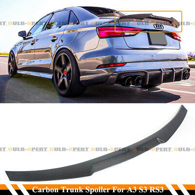 FOR 14-2020 AUDI A3 SLINE S3 RS3 4DR SEDAN 8V M STYLE CARBON FIBER TRUNK SPOILER