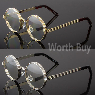 Men Women Clear Round Steampunk Retro Fashion Eye Glasses Hipster Frame (Retro Hipster)