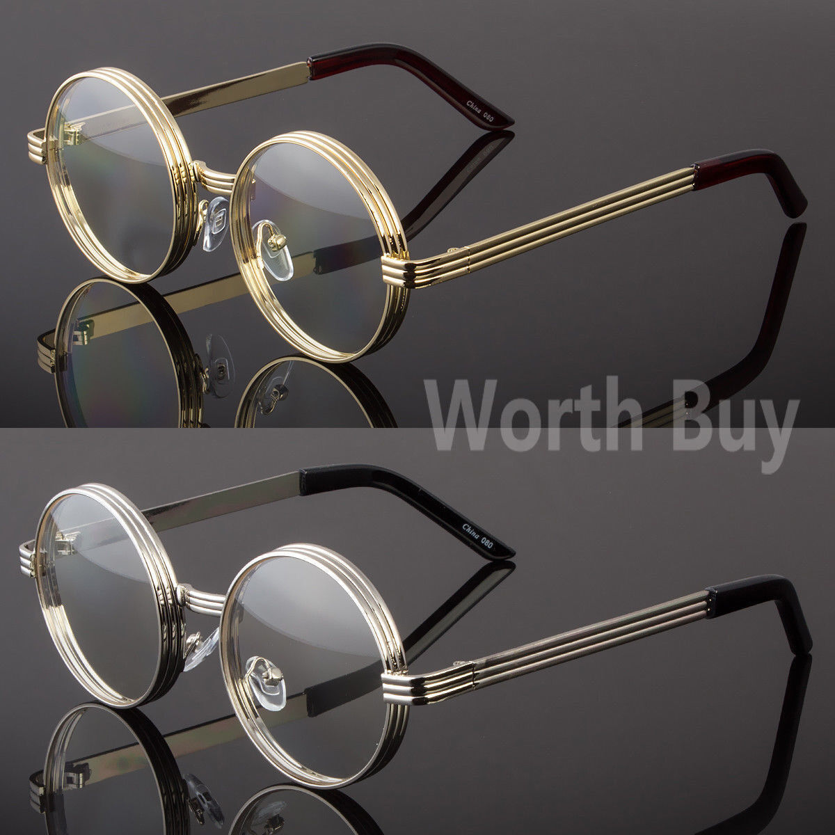 Men Women Clear Round Steampunk Retro Fashion Eye Glasses Hi