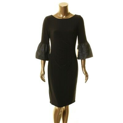 LAUREN RALPH LAUREN NEW Women's Konatta Contrast Bell Sleeve Sheath Dress 8 TEDO