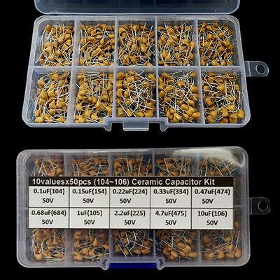 500 Pcs 10 Values 0.1uf10uf 50v Ceramic Capacitor Assorted Kit Assortment Set