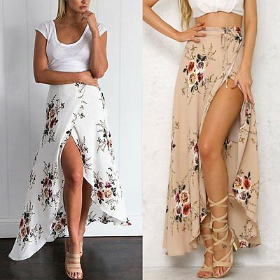 Boho Women Chiffon High Waist Summer Beach Long Maxi Dress Floral Split Skirt