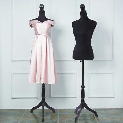 Female Mannequin Torso Wtripod Stand Dress Clothing Form Display Black New