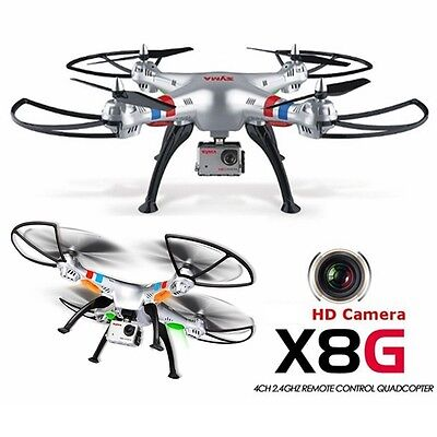 SYMA X8G 2.4GHZ 4CH 8MP GoPro Style HD Video Camera RC QUADCOPTER Drone HEADLESS