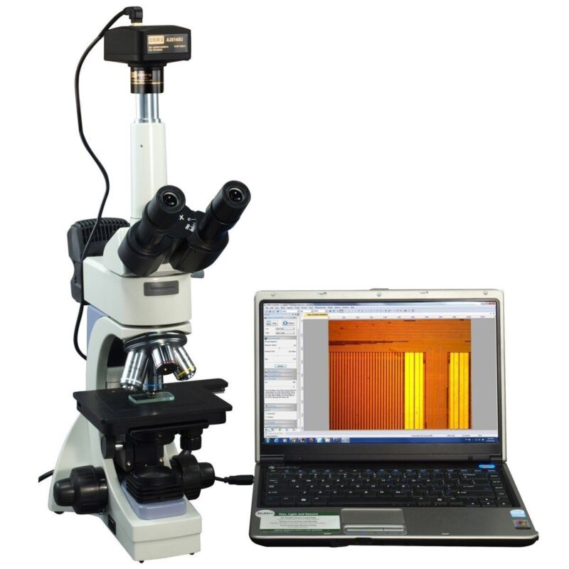 Omax 40-2500x Infinity Metallurgical Microscope With Dual Lights+14mp Camera