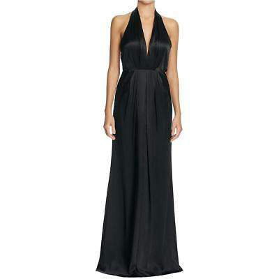 JILL STUART ~ Black Matte Charmeuse Deep V Halter Evening Gown 10 NEW $328