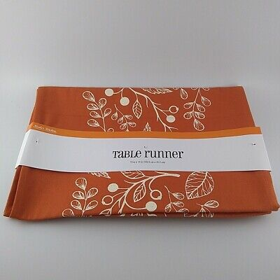 Nicole's Kitchen Table Runner Orange & White Autumn Leaves Berries 72 x 14 -
