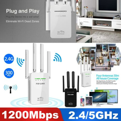 1200Mbps WiFi Range Extender Repeater Wireless Amplifier Router Signal Booster Boosters, Extenders & Antennas